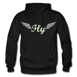 """Men's Customized Black Hoodie with the logo entitled """"fly"""" in glow in the dark print"""