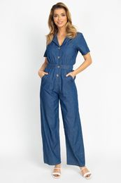 Button Front Elasticized Waist Jumpsuit - Be you new  fashion