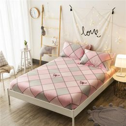 100%Cotton Girls Fitted Sheet Bed Sheet Linen set Mattress Cover With Elastic Band Sheet College Dorm Queen Twin size 36 - Johnnykfashion