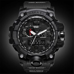 SMAEL Top Brand Men Analog Quartz Watch Men Sports Watches Mens Shock Military Clock Waterproof LED Digital WristWatch Masculino