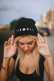 Moon Phases Beanie - BlackWhite Hat - Embroidered Phases of the Moon - Lunar Cycle Beanie - Gifts for women - Gifts for men - The Crown on the Cross