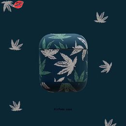 PINK LIPS Cute 3D Maple Leaves Earphone Case For Apple Airpods Shockproof Cover Hard PC Bluetooth Wireless Earphone Box bag Case - Millzgotswagg2020
