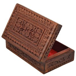 India Wooden Designer Hand Carved Jewellery Box Jewel Storage Organizer Great Gift Ideas : ( Size 7 x 5 x 2.5 Inch, Weight - 480 Grams) -