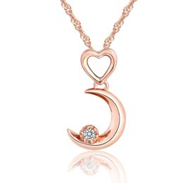 Rose Gold Hearted Moon Necklace - Rose Gold Trends