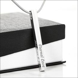 Engraved Stick Necklace - Engraved 4 Sided Stick Necklace (Stainless Steel) - Jewelry