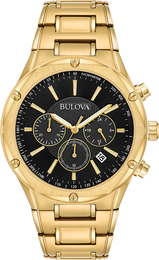Bulova Men's Chronograph Black Dial Gold-Tone Bracelet 43 mm Watch - Setnom