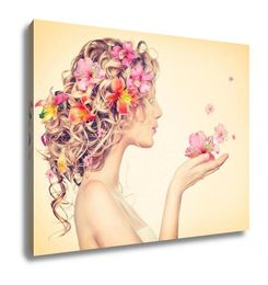 Gallery Wrapped Canvas, Fantasy Art Beauty Girl Takes Beautiful Flowers Her Hands - Addi's Oasis
