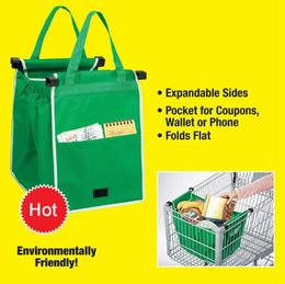 1Pcs Foldable Tote Handbag Reusable Large Storage Bags Trolley Clip-To-Cart Grocery Shopping Bags High Capacity - Krystal-online