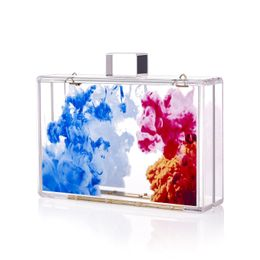 Abstract Oil Paint Acrylic Lucite Box Clutch - Fancy Luxuries