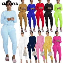 CM.YAYA Casual Sport Women Two Piece Set Tracksuit Long Sleeve Sweatshirt Tops Stacked Jogger Sweatpant Suit Outfit Matching Set - fashion-debrra-.com