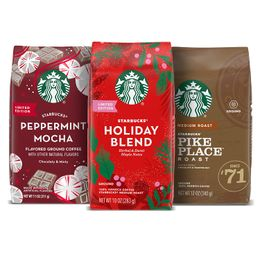 Starbucks Flavored Ground Coffee — Holiday Variety Pack — No Artificial Flavors — 3 bags (10, 11, 12 oz)