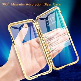 Front +Back 360 Magnetic Adsorption Metal Glass Case For iPhone 7 8 6 Plus ,11 Pro Max XR X XS Max 12 - phonecasecheaper