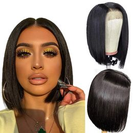 ALI GRACE Bob Wig Human Hair 4x4 Pre Plucked Bleached knots Lace Front Wig 150% Density Brazilian Virgin Human Hair Lace closure wigs12 inch Natural Color