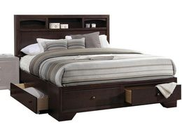 """88"""" X 63"""" X 48"""" Queen Espresso Rubber Wood Bed - Royal savage drip"""