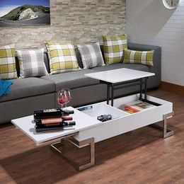 """47"""" X 20"""" X 14"""" White And Chrome Particle Board Coffee Table - Royal savage drip"""