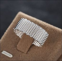 Handcrafted woven wire mesh 925 silver ring