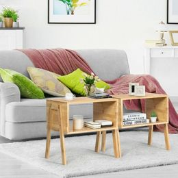 2 Piece Bamboo Storage Shelf Nightstand Sofa Table - Bundle Me Goods Online
