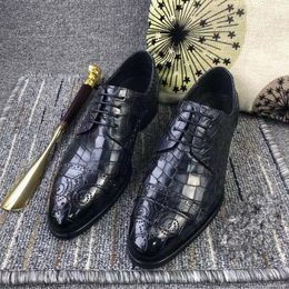 Authentic Exotic True Crocodile Belly Skin Male Dress Shoes Genuine Alligator Leather Handmade Lace-up Men's Gray Oxford Shoes