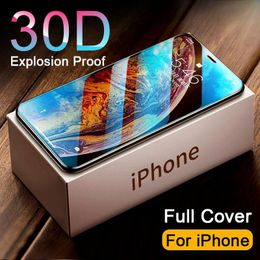 30D Full Cover Tempered Glass on For iphone 11 12 PRO MAX Screen Protector Protective Glass For iphone 11 12 X XR XS MAX Glass - FreeFra