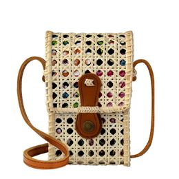 Crossbody Woven Bag with Genuine Leather Strap | Cell phone Holder Bag, Summer Beach Bag.