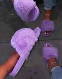 2020 Winter Home Shoes Women House Slippers Warm Faux Fur Ladies Cross Soft Plush Furry Open Toe Slides - BlaqueLuxeBootique