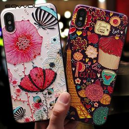 Eqvvol Cute 3D Emboss Cartoon Patterned Phone Case For iphone X 8 7 6 6S Plus Cases Soft Silicone Cover For iphone 5 5s SE Coque - DAshley Infinity Store