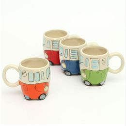 400ml Creative Hand Painting Double Bus Mugs Retro Ceramic Cup - The Uggly Muggly