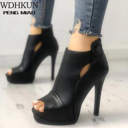 11cm New Women Pumps Spring Fall Office Shoes Breathable Hollow Out Square Heel Boots Woman Platform Heels Party Wedding Shoes - The best for less