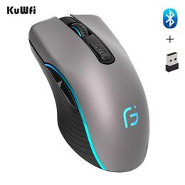 Computer Mouse Bluetooth 4.0+ 2.4Ghz Wireless Dual Mode 2 In 1 Mouse 2400DPI Ergonomic Portable Optical Mice for PC/Laptop.