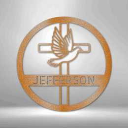"""Dove and Cross Monogram - Steel Sign - Copper / 12"""" - Custom - Stupendous Gifts"""