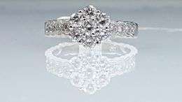 18k, white gold, engagement ring, diamond ring, cluster, beautiful,